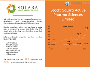 SOLARA ACTIVE PHARMA SCIENCES LIMITED