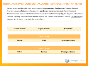 INDIA  ACHIEVES  CURRENT  ACCOUNT  SURPLUS  AFTER  17  YEARS